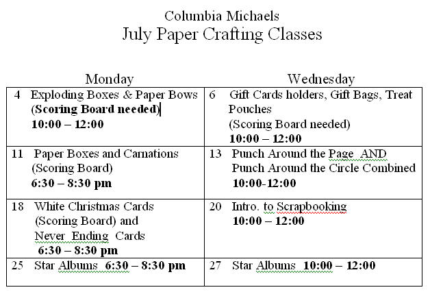 Keeping It Simple Cards July Schedule Of Classes For Columbia