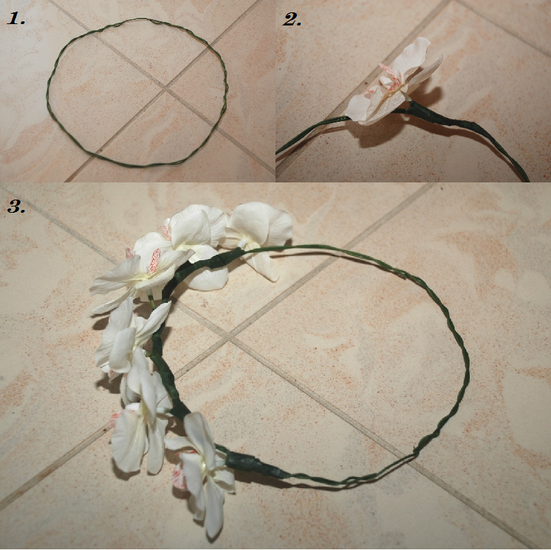 DIY floral crown, floral crown, method, how to, orchid, flourist tape, floral wire