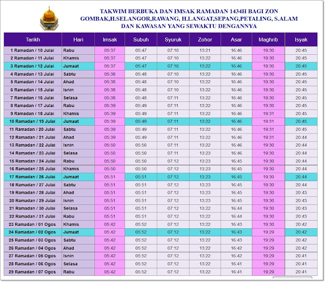 Jadual Waktu Imsak Dan Berbuka Puasa Negeri Selangor dan WP Putrajaya