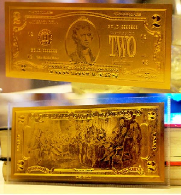 2 mặt tờ tiền mạ vàng 24k