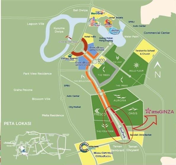 map ruko citra raya little ginza