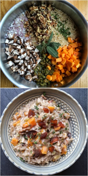 One Pot Pasta: Creamy Goat Cheese Orzo Risotto with Butternut Squash, Thyme and Walnuts