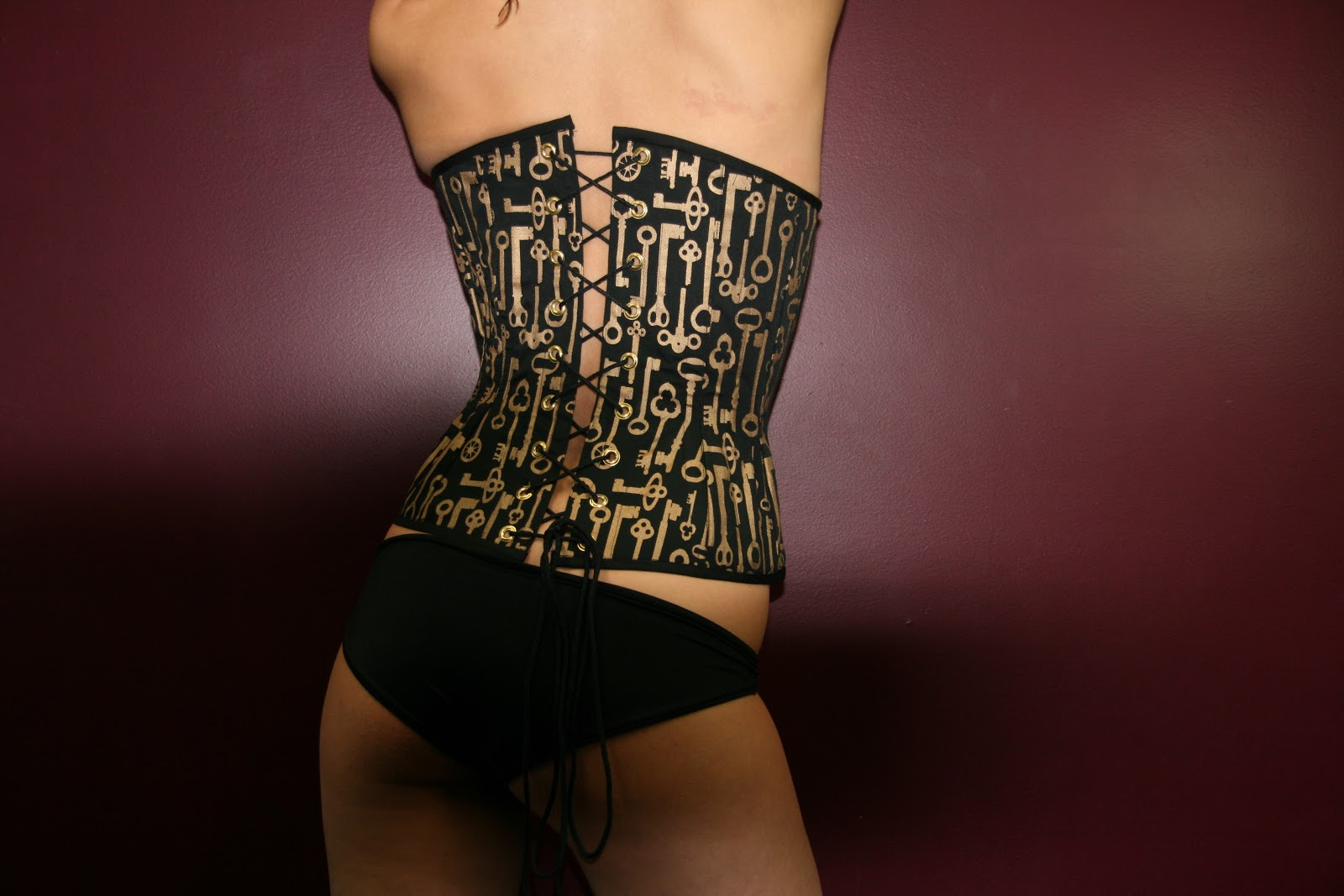 corset antique brass grommets and busk original screen printed antique    Antique Keyhole Tattoo