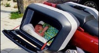 Como passear bebé na mota