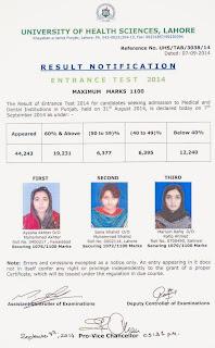 UHS Lahore MCAT Entry Test Result 2014 Declared