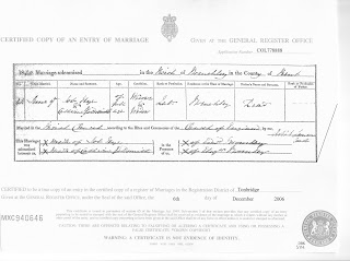 Job Nye and Catherine Goldsmith marriage record 4 June 1840