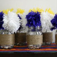 Yarn Pom Pom Centerpieces