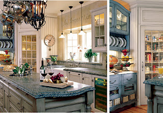 small french kitchen design in blue and white
