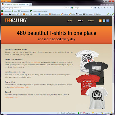 Screen shot of http://teegallery.com/about/.