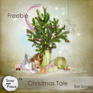 "Free digital scrapbook mini kit ""Christmas Tale"" from Belscrap"