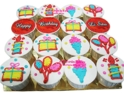 Cupcake with designs for birthday