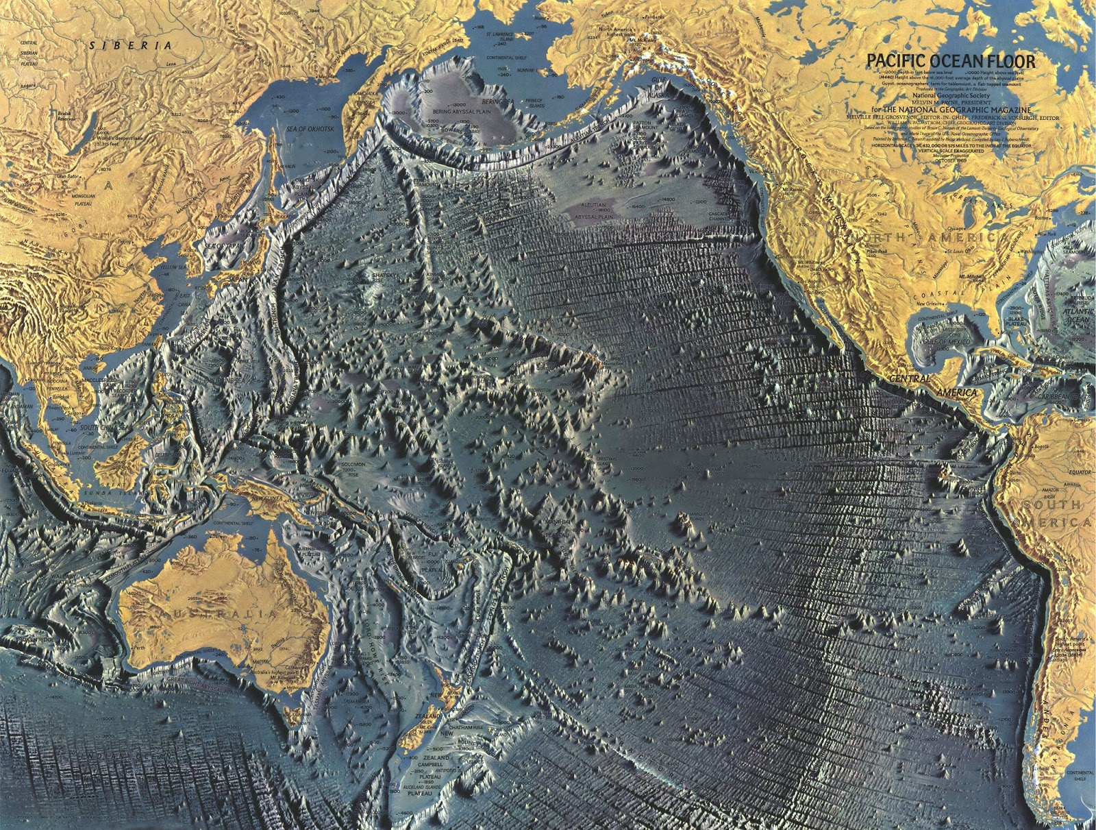 A detailed map of the Pacific ocean floor