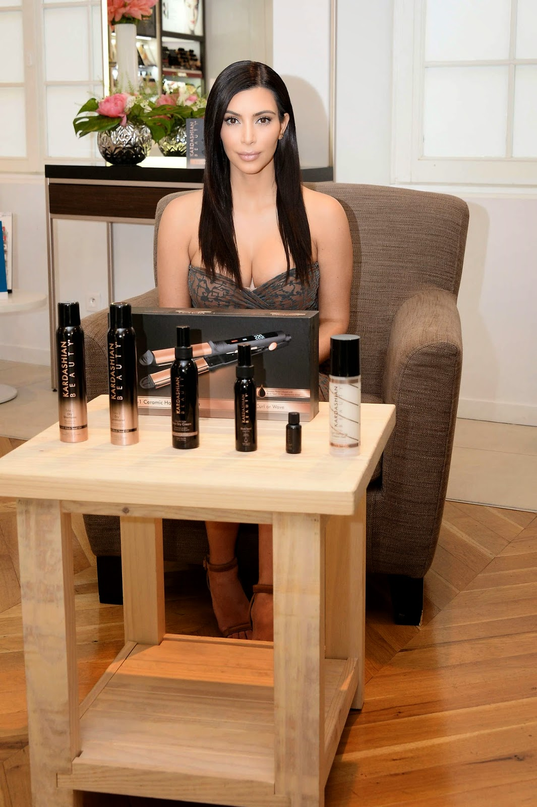Kim Kardashian – Promoting 'Kardashian Beauty Hair' in Paris