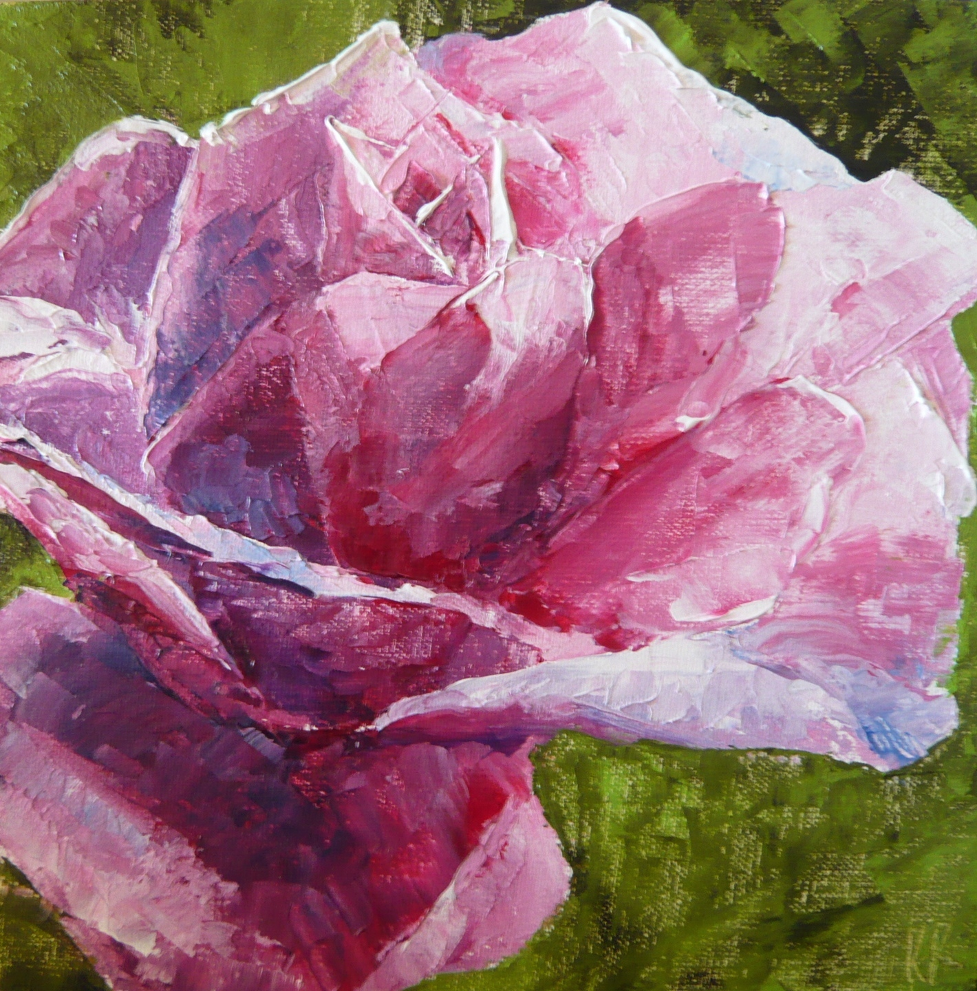 oil painting, pink rose, palette knife painting