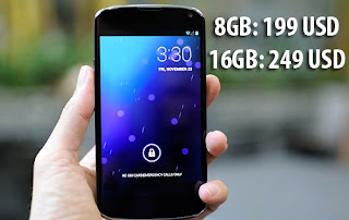 Google Nexus 4 discount $ 100, 199 and 249 dollars