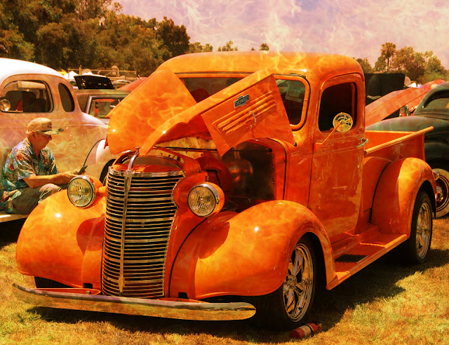 old orange truck with texture added to photo
