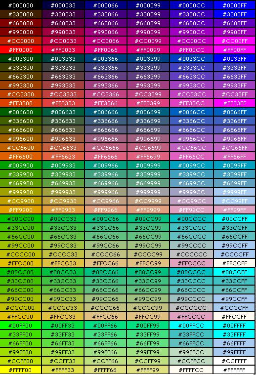 таблица RGB цветов