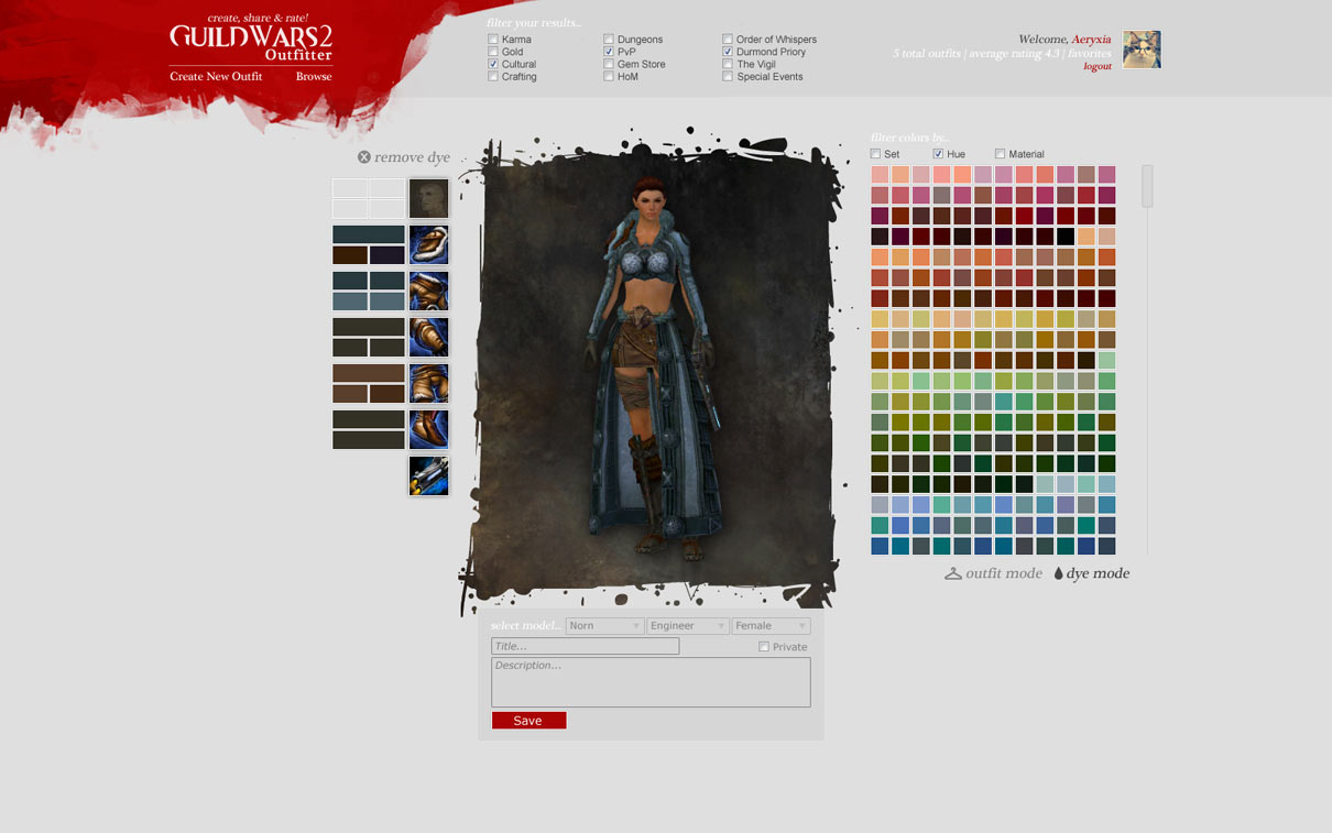 Abyss Celestial Dye custom outfit gw2 preview
