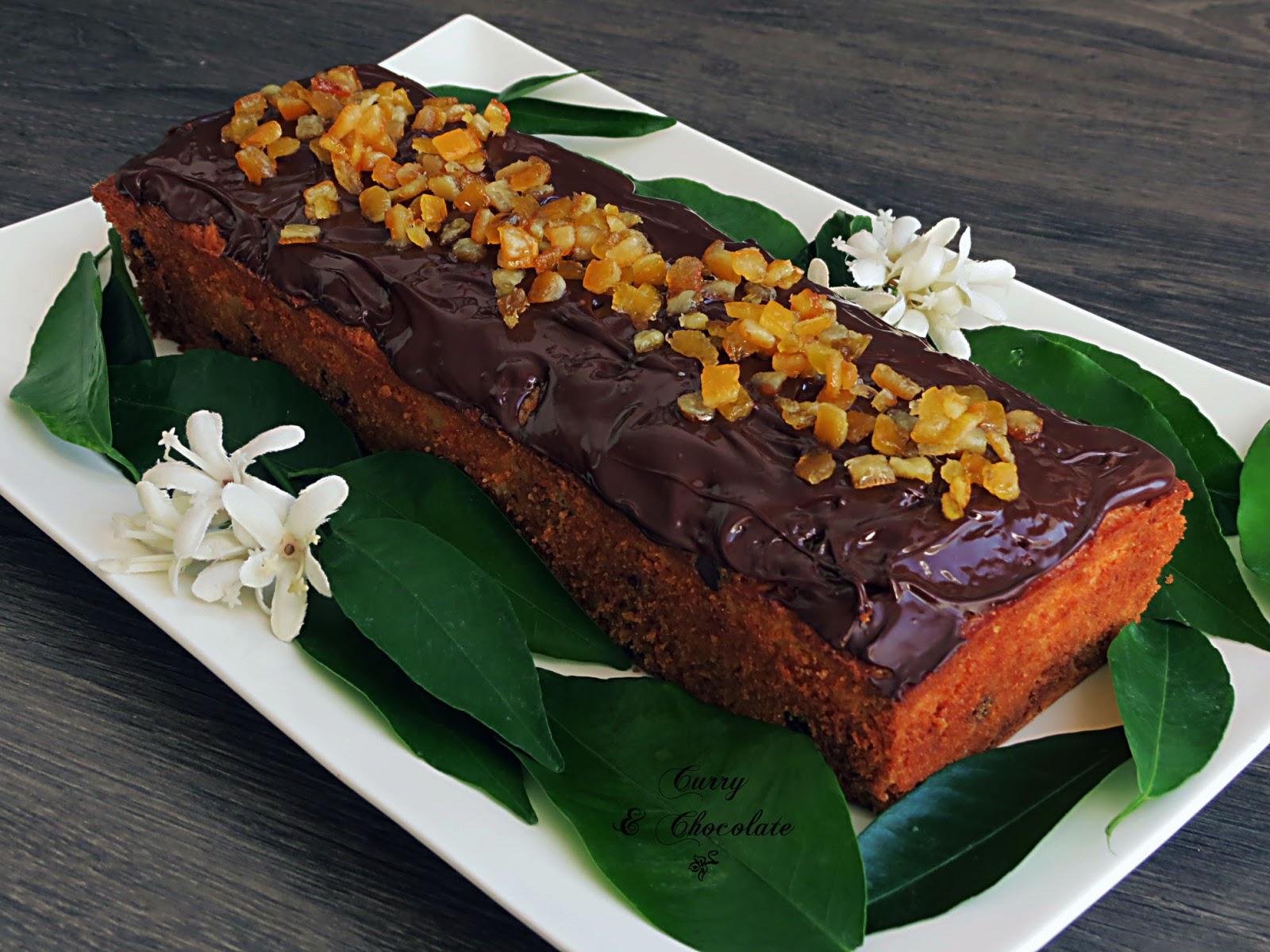 Bizcocho de ricotta con naranja confitada y chocolate - Ricotta cake with candied orange and chocolate
