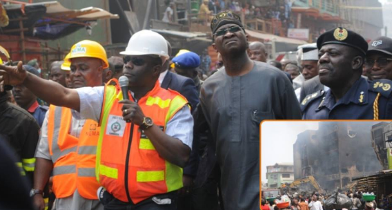 Photos of Governor Fashola Visit to Burnt Section of Balogun Market