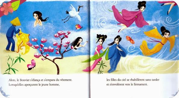 Les Amoureux du ciel, conte chinois, Illustrations de Peggy Nille