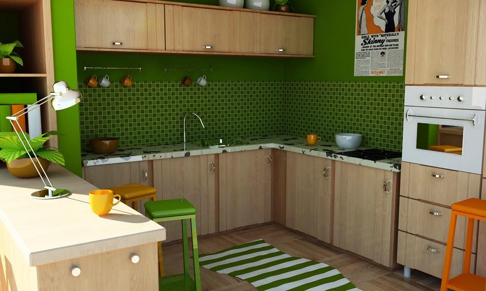 Free kitchen interior scene file c4d vray source for Vray interior scene