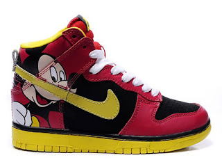 Disney Nike Dunk Mickey Mouse High Red Yellow Shoes For Women