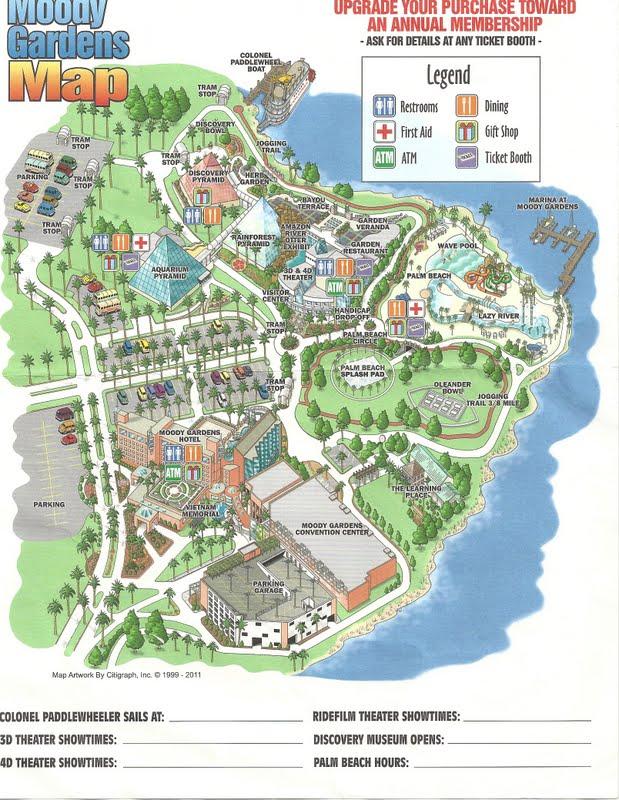 Superb Map Of The Moody Gardens, Galveston Tx