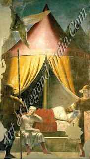 The Dream of Constantine (c.1460) Part of the Story of the True Cross, this fresco depicts Constantine being assured of victory.