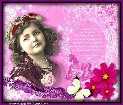 fondo vintage collage en rosa con niña antigua, flores y mariposa