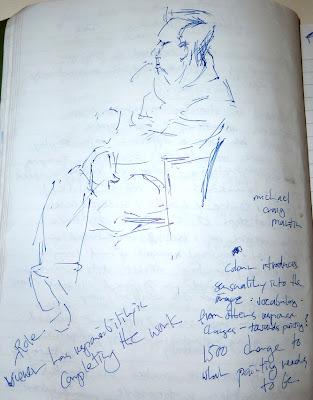 Michael Craig Martin talking at the National Gallery -pencil on notepad