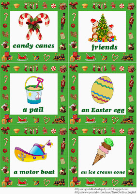 christmas flashcards for learning english