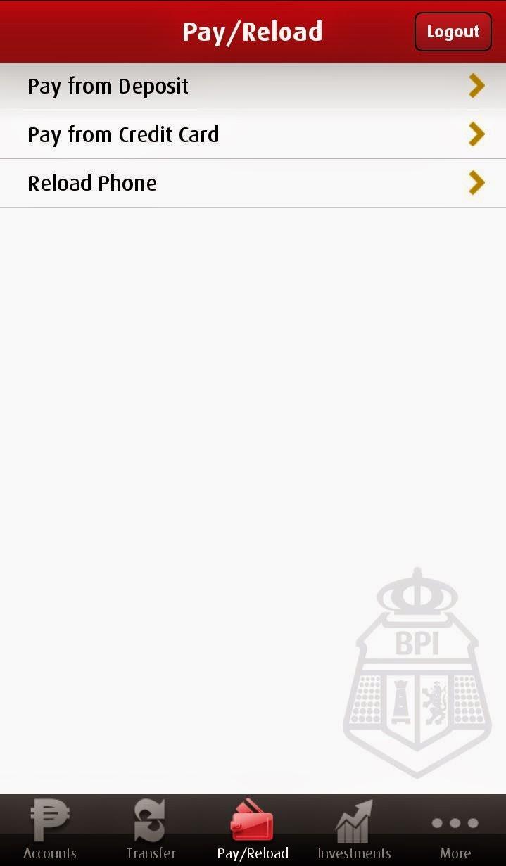 BPI Mobile App Reload Phone