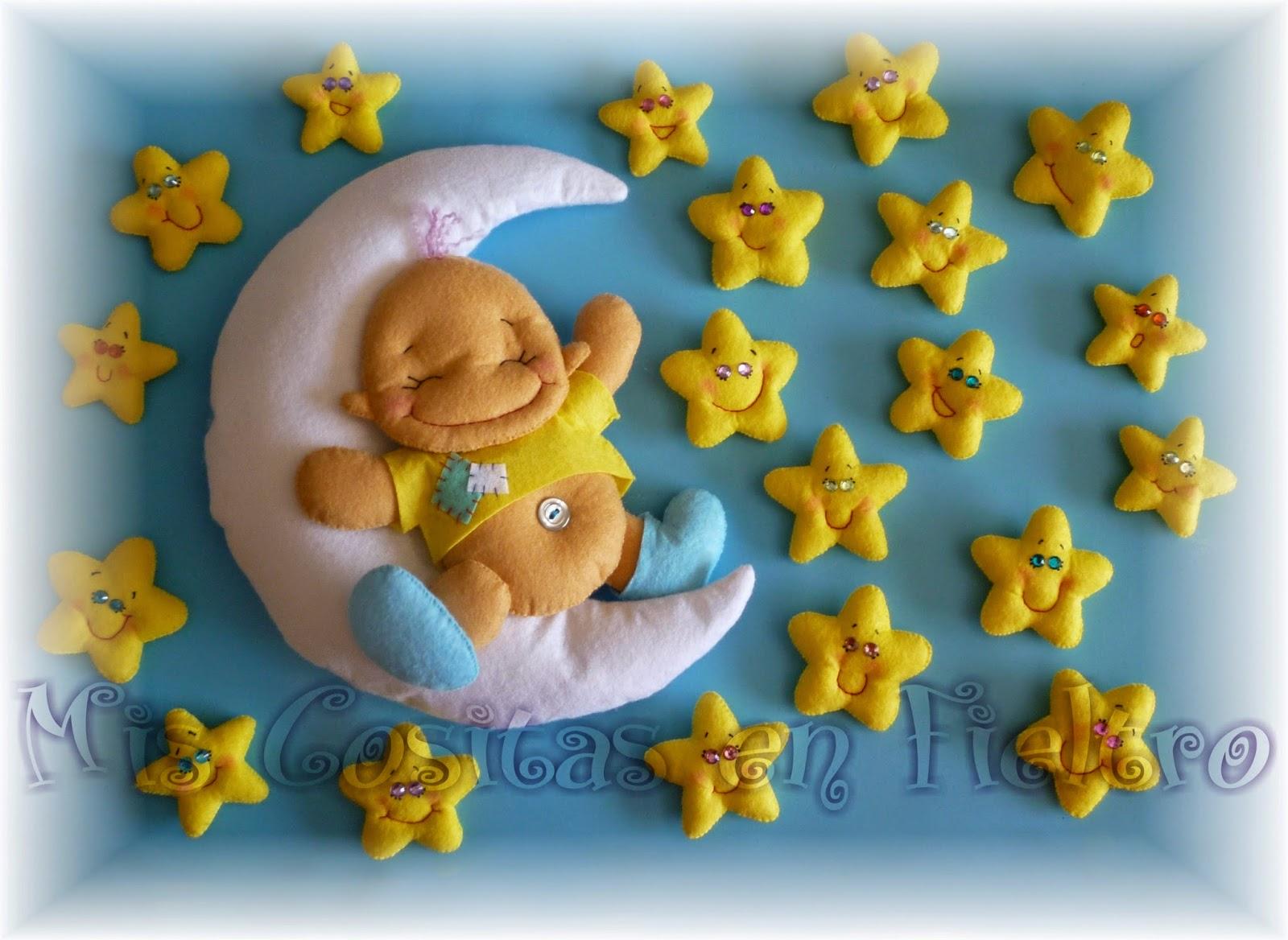 bebé en la luna, bebé dormido, fieltro, estrellas