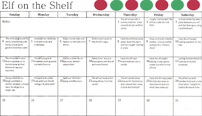 Elf on the Shelf planning Calendar Diary of a {Wannabe} Domestic Diva