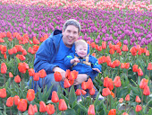 Playing in the tulips