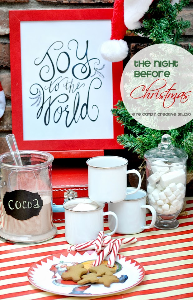 the night before christmas, cocoa bar, hand lettered art print, joy to the world