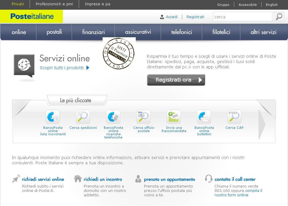 sisti il postatore servizi online poste italiane inviare