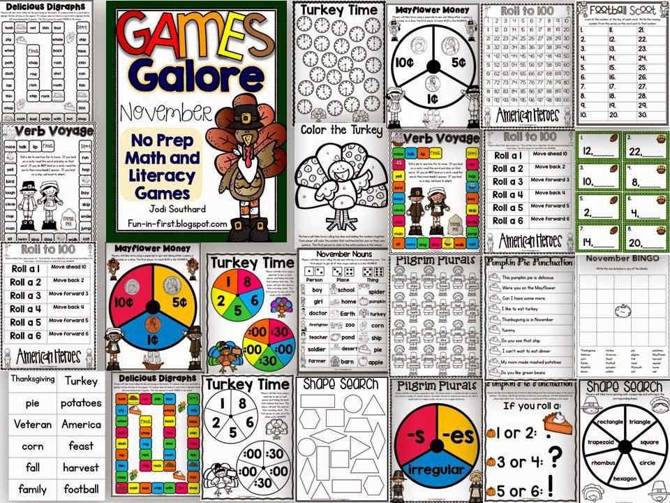 http://www.teacherspayteachers.com/Product/Games-Galore-No-Prep-Math-Literacy-Games-for-November-1505647