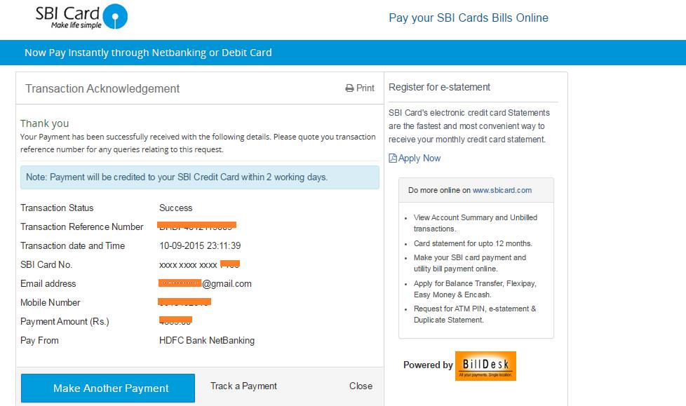 sbi credit card login online payment billdesk