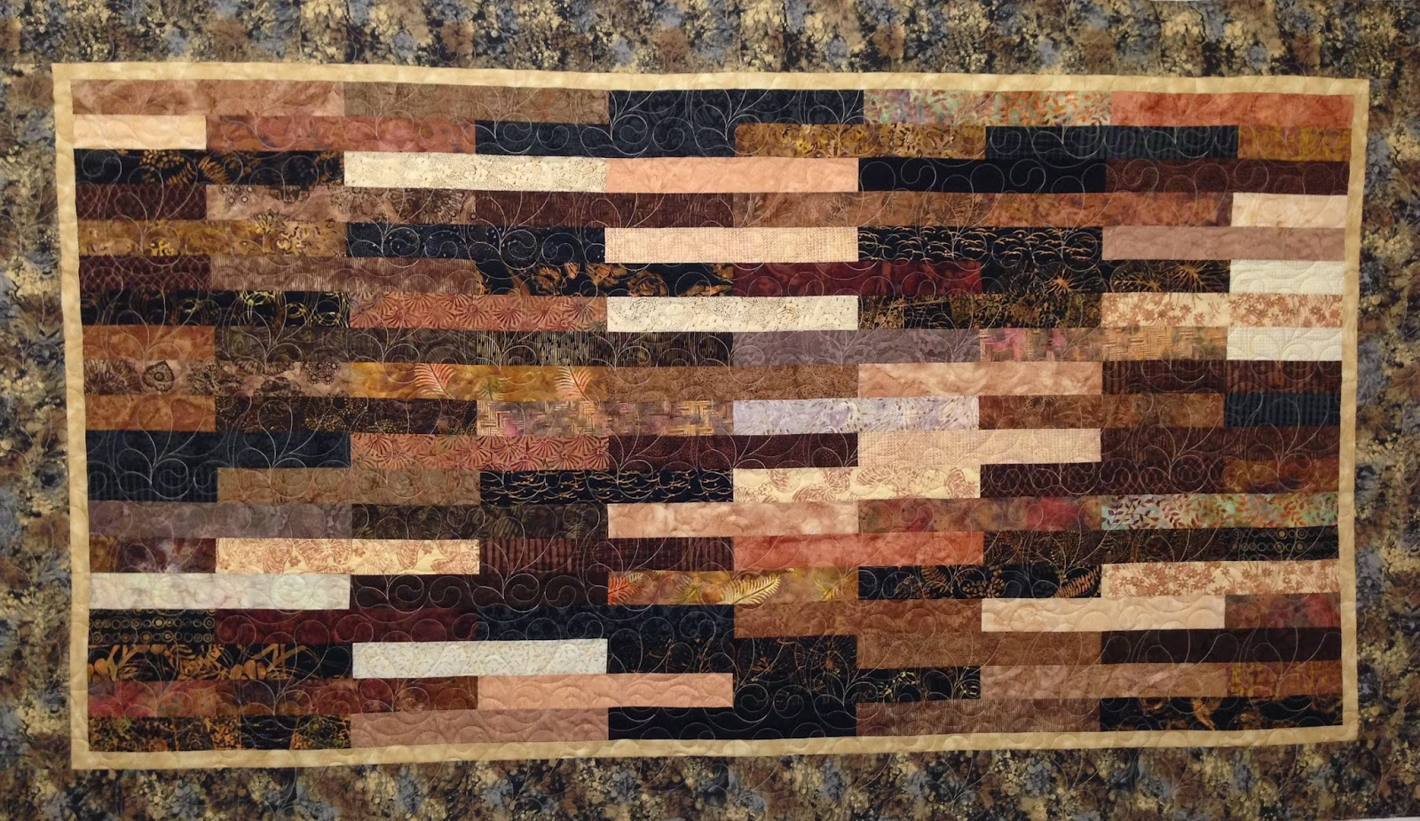 Sally Krebs Brown and Beige Strip Quilt