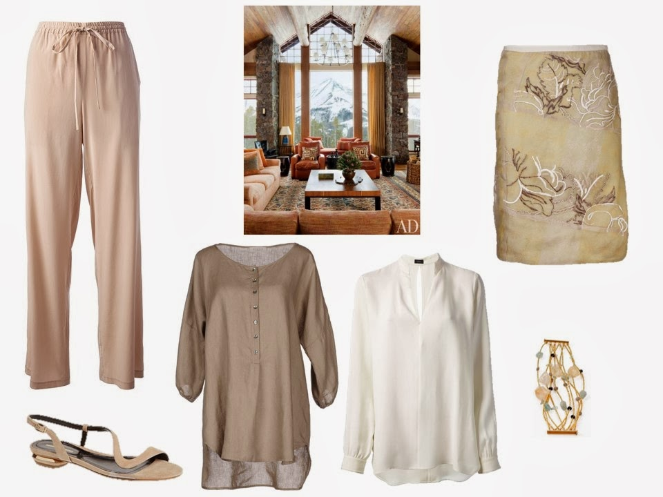 two warm-weather outfits based on an interior from Architectural Digest - tunics and a dressy skirt, or silk pants