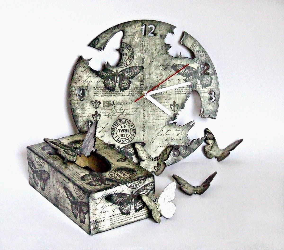 zegar i chustecznik decoupage w motyle shabby chic by Eco Manufaktura