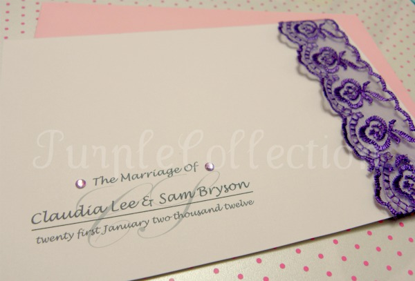 Lace Theme Wedding Invitation Card, wedding invitation card, lace theme card, lace card, lace invitation card, wedding card, handmade card, purple