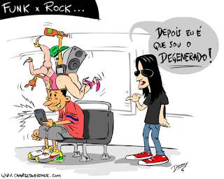 funk x rock - Funkeiro ou rockeiro, quem é o degenerado - funkeiro com porcaria na cabeça e roqueiro criticando