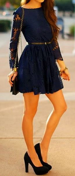 Black Handbag, Black High-Heeled Shoes And Black Belt, Short, Beautiful, Dark-Blue Dress, Golden Colored Bracelet.