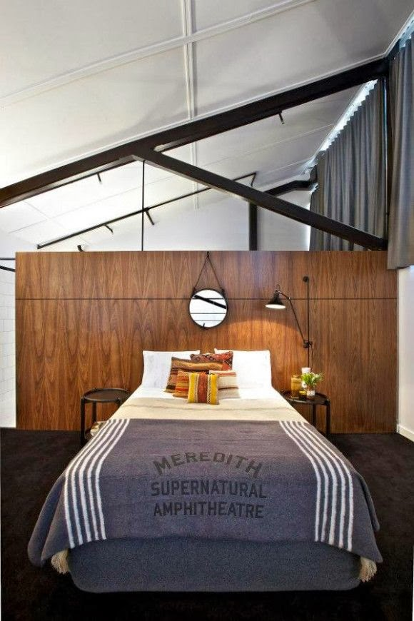 love this whole combination of vintage industrial midcentury bedroom