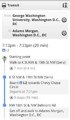 Google Transit goes to Washington DC - AUer - My AU Life