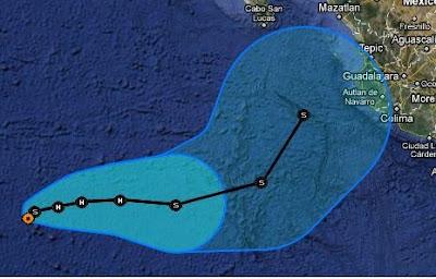 Der Tropische Sturm IRWIN wird vielleicht nicht zu einer so großen Gefahr für Mexiko wie erwartet, Irwin, Vorhersage Forecast Prognose, Verlauf, Pazifik, Mexiko, aktuell, Oktober, 2011, Hurrikansaison 2011,