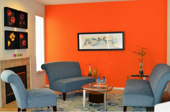 Chambre couleur orange et gris design de maison for Peinture blanc orange salon